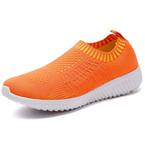 LANCROP Women's Lightweight Slip On Athletic Sneakers Breathable Mesh Walking Shoes,6701 Orange,6.5 M US