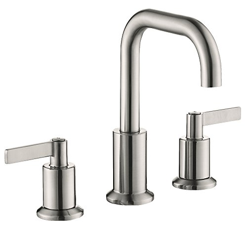 TimeArrow TAF288S-BN Two Handle 8 inch Widespread Bathroom Sink Faucet with Pop-Up Drain, Brushed Nickel (2 Handle Widespread)