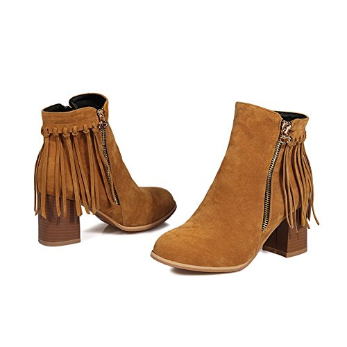 BalaMasa Ladies Tassels Chunky Heels Romanesque Style Frosted Boots Brown lPNNOCxk1