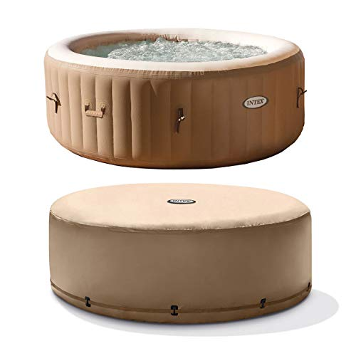 (Intex PureSpa 4-Person Tan Inflatable Bubble Jet Spa Portable Hot Tub with Cover)