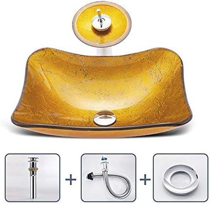 洗面化粧台シンク 浴室上記カウンター容器バニティシンクボウルでオイルラバーブロンズの蛇口、ポップアップドレイン 和風 洋風 お洒落な 節水 節約 (Color : Gold, Size : 47.5x37.5x13.5cm)
