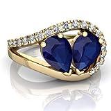 14K Yellow Gold Lab Sapphire and Diamond Pear Nestled Heart Keepsake Ring - Size 6.5