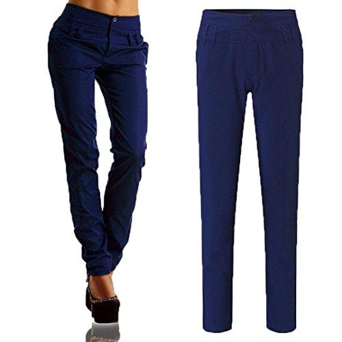 Charming Lange Größe Blau Frauen Taille feiXIANG Buttons Casual Freizeit Elegante Hosen Große Hohe Hosen nxa1wFwqgW