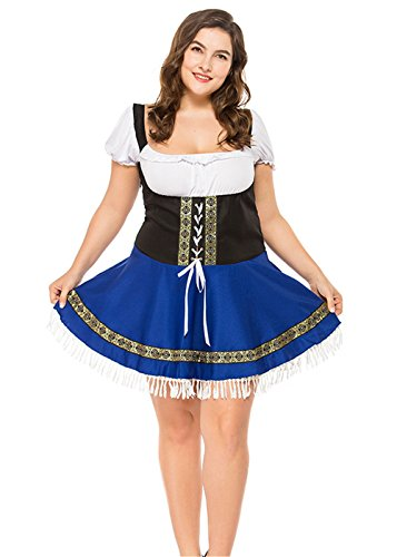 Maid Costume for Women, Plus Size Beer Girl Costumes Bavaria Oktoberfest Bar Maid Halloween Cosplay Dirndl Dress (M(Bust:34.6