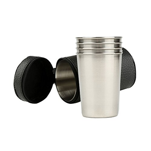 Pack of 4 Stainless Steel Cups 6 oz drinking glasses 18/8...
