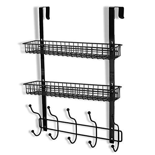 - Coat Rack, MILIJIA Over The Door Hanger with Mesh Basket, Detachable Storage Shelf for Towels, Hats, Handbags, Coats (Black-2 Layer)