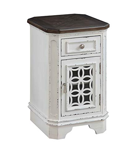 Treasure Trove 36607 Door One Drawer Chairside Cabinet End Table White ()