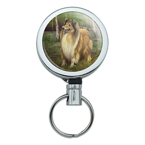 Collie Dog in the Woods Heavy Duty Metal Retractable Reel ID Badge Key Card Tag Holder with Belt Clip
