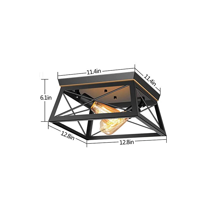 Pynsseu Industrial Ceiling Light, 2 Lights Farmhouse Semi Flush Mount Ceiling Fixture for Kitchen Island Dining Room…