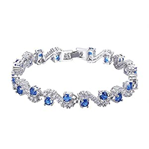 L&S, Embellished with Sapphire and Clear crystals from Swarovski New Simple Design Brass Bracelet For Women Girl
