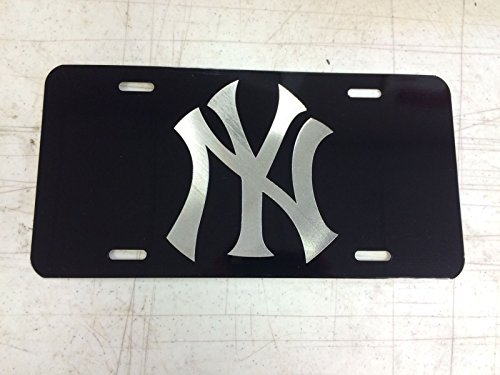(Diamond Etched New York Yankees 1 Car Tag on Aluminum License Plate)