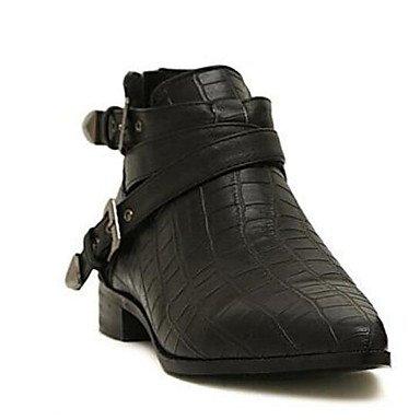 Botas de mujeres PU Confort confort informal de resorte plano negro púrpura Black