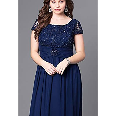 Lover Kiss Women's Long Floral Lace Chiffon Mother Of Bride Dresses With Short Sleeves at Women's Clothing store