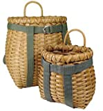 Finely-Woven Pack Baskets with Straps (Strap Color Varies) 2-pc Set