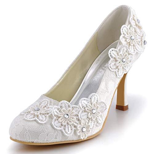 ElegantPark EP11099 Women Vintage Closed Toe Pumps High Heel Flowers Lace Wedding Bridal Dress Shoes Ivory US 7
