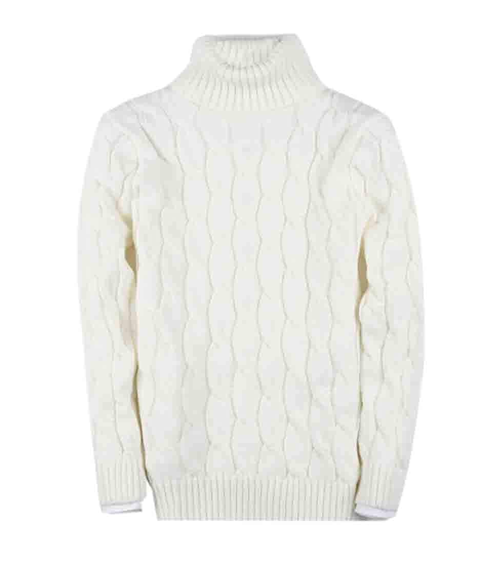 xiaohuoban Men Sweater Turtleneck Long Sleeves Pullover Cable Knitted Tops
