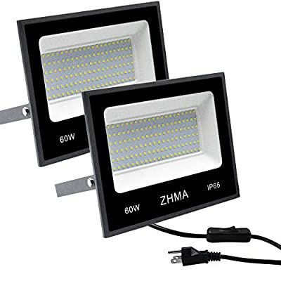 ZHMA 2 Pack 60W LED Outdoor Lighting Flood Lights,Wall Light,Work Light,IP66 Waterproof Security Lights,5400lm,6500K White Light for Shop,Garage,Yard,Garden,Landscape, Playground Lighting