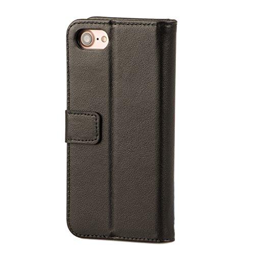 iPhone 7 Custodia, Pelle, Protettiva case / Portafoglio ultra sottile. Pregiata vera pelle custodia con funzione di supporto di stand per iPhone 7 di Brasi