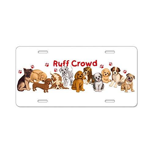 CafePress - Ruff Crowd - Aluminum License Plate, Front License Plate, Vanity Tag (Puppy Plate License Dog)