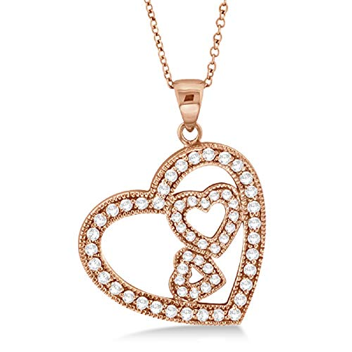 Cubic Zirconia Triple Heart - 14K Rose Gold Finish 1.15Ctw Round Cut Cubic Zirconia Triple Heart Pendant Necklace