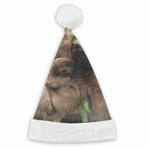 (Unisex-Adult's Child Santa Hat,Animal Sloth Velvet Christmas Hat with Plush Trim ∧ Comfort Liner )