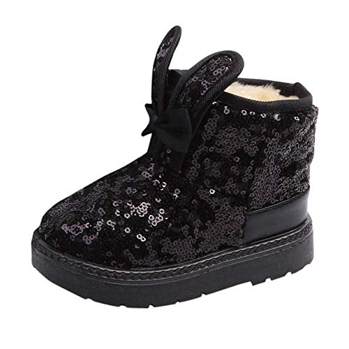 SMTSMT Baby Shoes Kids Baby Infant Girls Winter Rabbit Ear Blings Sequins Snow Boots Warm Shoes ()