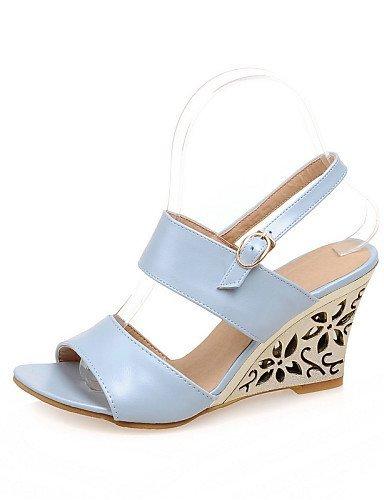 ShangYi Women's Shoes Wedge Heel Wedges Sandals Office & Career/Dress Blue/Silver/Beige Silver ErLYMcLn