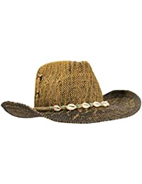 New Hand Woven Ombre Cowboy Cowgirl Hat With Beaded cowrie Shell hatband, UPF 50+