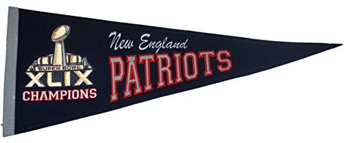 New England Patriots 2015 Super Bowl XLIX Champions Wool Navy Classic Pennant (Patriots 2015 Champion Pennant compare prices)