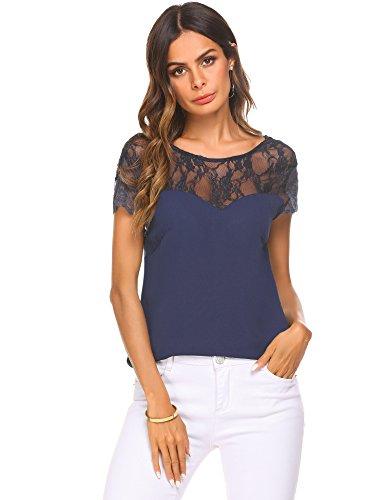 (Zeagoo Women's Cap Sleeve Floral Lace Chiffon Blouse Top Navy Blue)