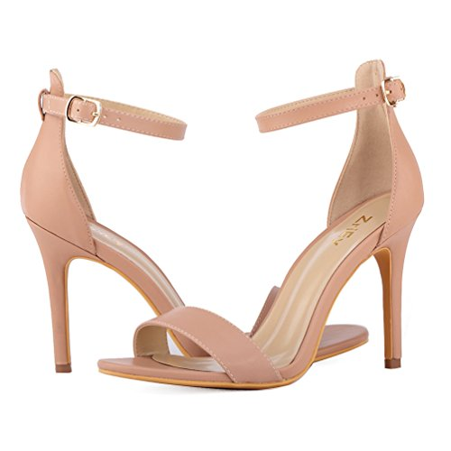 10CM High Heeled Ankle ZriEy Open Heels Toe Party Strap Women's Nude Bridal Sandals Shoes X5wwcq0S