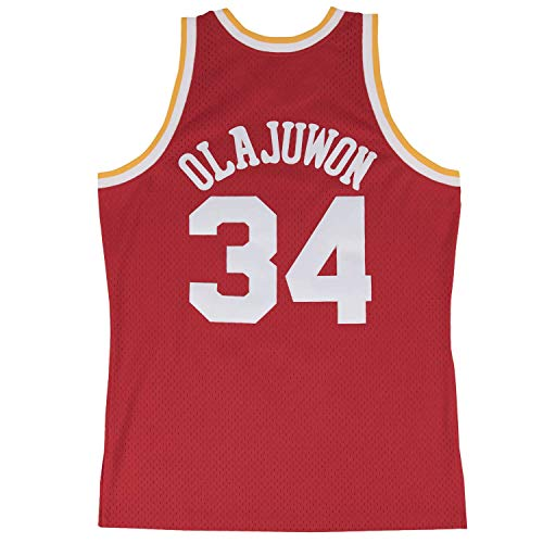 Hakeem Olajuwon Houston Rockets Mitchell and Ness Men's Red Throwback Jesey Large - Houston Rockets Throwback