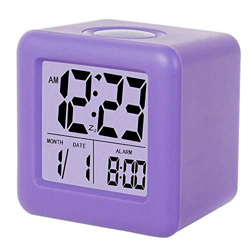 Digital Alarm Clock, Kids Clock,3 LED Display with Nightlight, Alarm, Snooze,Calendar for Girls Bedrooms(Purple)