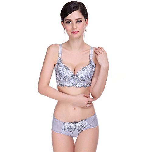 Etosell Womens Push up Embroidered Flowers Bra and Panty Set Deep V Bra Lingerie Set Embroidered Bra Set