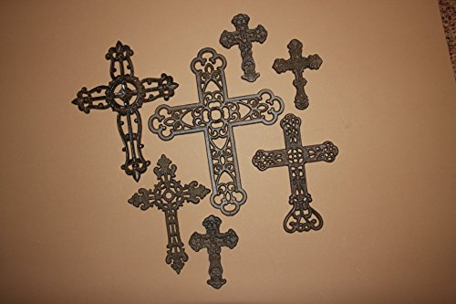 Christian Home Decor Gift Set Mission Style Wall Cross, Set of 7