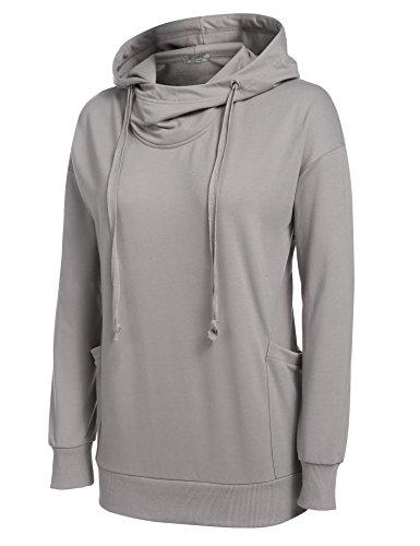 ACEVOG Damen Langarm Hoodie mit Taschen Drop Schulter Langarmshirt mit Kapuze  Kapuzenpullover Sweatshirt: Amazon.de: Bekleidung