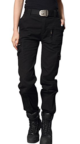 (chouyatou Women's Military Straight Fit Stylish Combat Cargo Slacks Pants (Medium, Black))