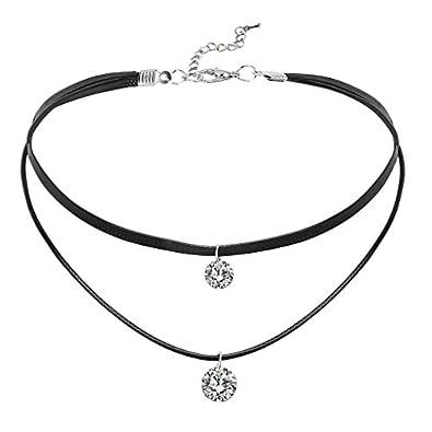 neueste trends hell im Glanz super service Daesar Damen Choker Halskette Halsband Seil Leder 2 Runde Zirkonia Halsband  Halskette Silber Schwarz Kette 34.5CM (+6.5cm Verlängern)