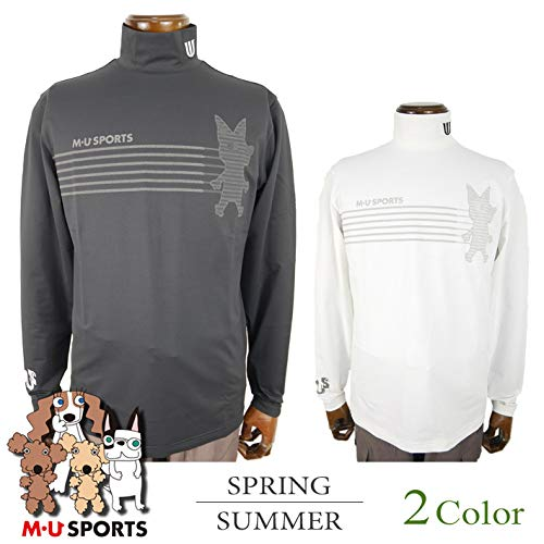 [エム ユースポーツ] 長袖ハイネックシャツ (前面プリント) メンズ ゴルフウェア 50(L寸) ブラック(005) B07QX3NTJ9