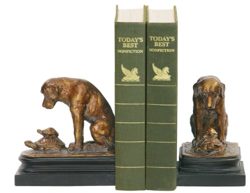 Puppy Bookends - Sterling Home 91-1452 Pair of Bookends, Turtle Under Study By Labrador Dog, 6-Inch Tall