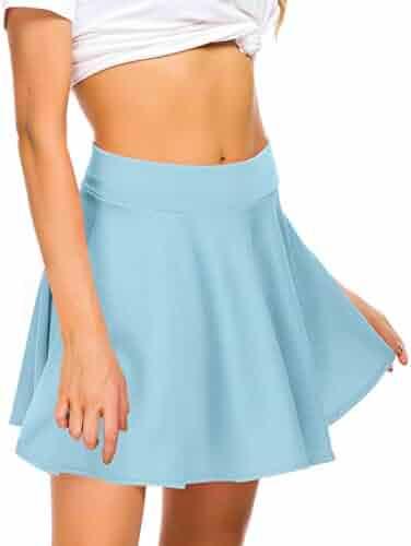 91e5da619 EXCHIC Women Stretch Waist Flared Mini Skater Skirt Casual Pleated Skirts