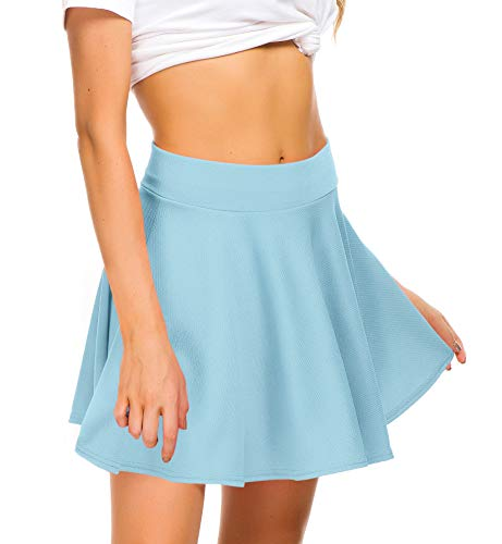 (EXCHIC Women Stretch Waist Flared Mini Skater Skirt Casual Pleated Skirts (S, Light Blue))