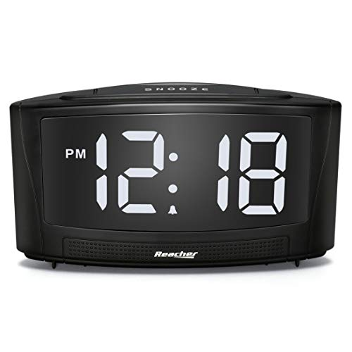 REACHER Dim Alarm Clock with Dual USB Charger 0-100 Dimmer and 30-85DB Volume Controller and Simple Operation Black