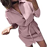 HHmei Women's Autumn Casual Fashion Dresses Long Sleeve Knotted Elegant Loose Blouse Party Wedding