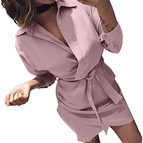 Morecome,Women's Fashion Long Sleeve Autumn Open Casual Knotted Blouse Dress