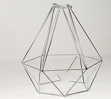 Diamant Draht Anhänger Käfig Lampe Schatten | Spiegel Chrom: Amazon ...