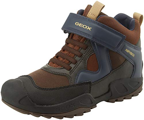 Geox Boys' New Savage ABX 6 Waterproof & Insulated Rugged Boot Ankle, Brown/Navy, 39 Medium EU Big Kid (6 US) (Geox Boots For Boys)