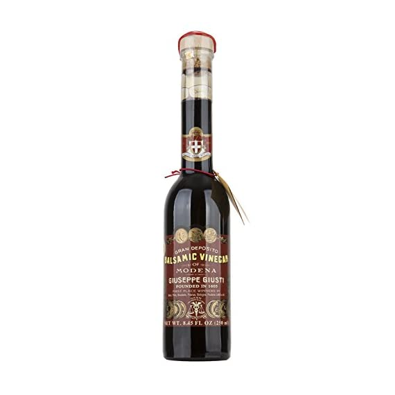 Giuseppe Giusti Riccardo Balsamic Vinegar, Product of Italy - Aged 12 Years - Simfonia, IGP Certified 8.45fl.oz / 250ml 1  Made from the must of cooked sundried grapes and aged wine vinegar, it ages in barrels. Unfortunately there are some flaws in regulations so it is allowed to dilute and add different ingredients to the IGP Balsamic Vinegar, the ones selected by Bellina are strictly made from only must and wine vinegar and are made in a traditional manner that respects the product.  Taste profile: Aroma and flavor recalls plum jam, red fruit, honey and vanilla.  Pairings: Fresh pasta such as ravioli, beef, soft cheese, fresh fruit and dessert.