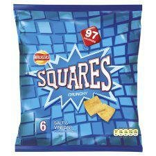 Walkers Squares Salt & Vinegar Snacks 6 X 27.5G