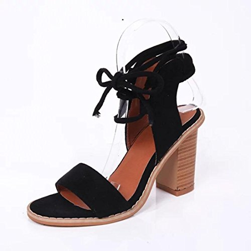 Peep up Toe Block Suede Cross Lace Shoes Chunky Black Heel Women Tied Fheaven wE1XAqxB